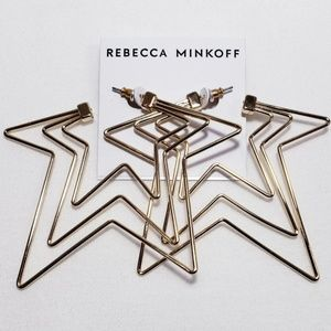 REBECCA MINKOFF Star Gold Hoop Earrings